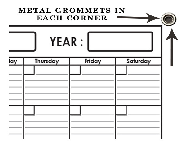 Monthly Wall Planner 36 x 48 by SwiftGlimpse with Grommets