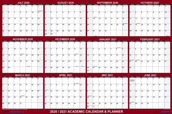 2020-2021 school calendar planner for students school supplies
