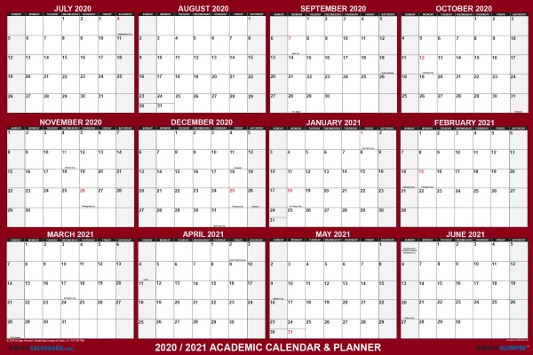2020 2021 Academic Planning planning calendar virtual school supplies for distance learning