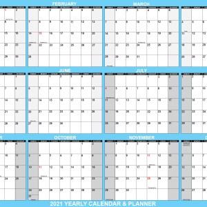 2021 Wall Calendar 18 x 24 Reversible SwiftGlimpse in Blue