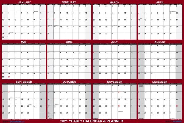 """2021 Wall Calendar 18"""" x 24"""" - Reversible SwiftGlimpse in Maroon"""
