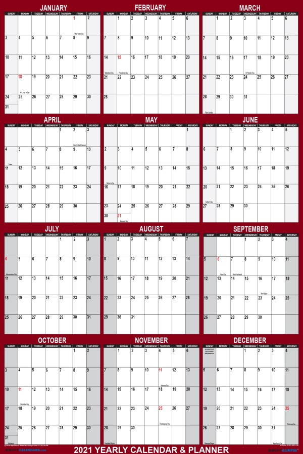 2021 Wall Calendar 24 x 36 Folded Paper Version - SwiftGlimpse Large Paper Calendar in Maroon Vertical