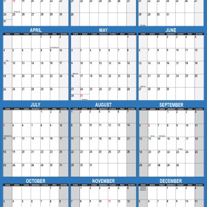2021 Wall Calendar 24 x 36 Folded Paper Version - SwiftGlimpse Large Paper Calendar in Navy Vertical