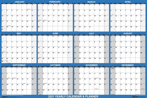 2021 Wall Calendar 24 x 36 Folded Paper Version SwiftGlimpse Large Paper Calendar in Navy