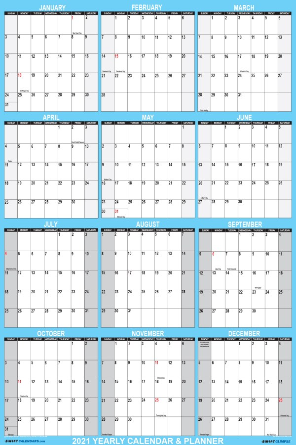 2021 Wall Calendar 24 x 36 Reversible SwiftGlimpse in Blue Vertical