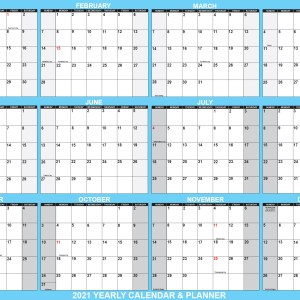"2021 Wall Calendar 24"" x 36"" - Reversible SwiftGlimpse wall Calendar in Blue"