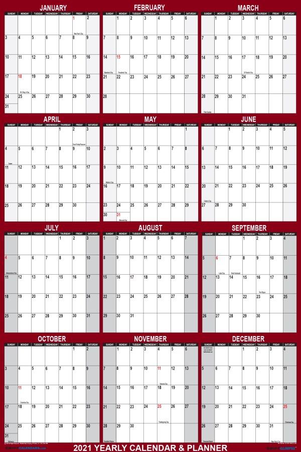 2021 Wall Calendar 24 x 36 Reversible SwiftGlimpse in Maroon Vertical