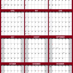 2021 Wall Calendar 24 x 36 Reversible SwiftGlimpse in Maroon Vertical
