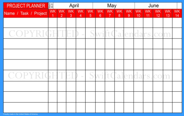 digital format weekly project planner and academic calendar in school supplies