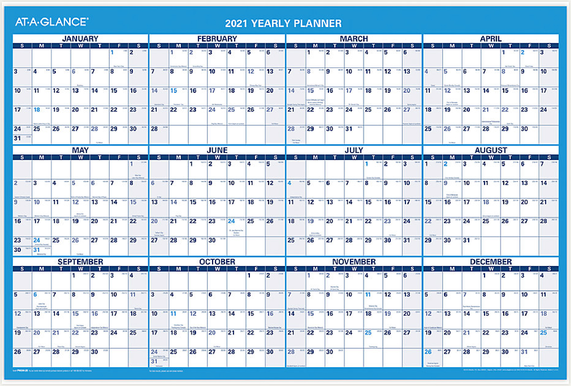 """2021 Erasable Wall Calendar Planner by AT-A-GLANCE 36"""" x 24"""""""