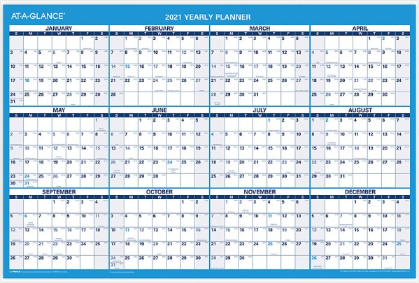 2021 Erasable Wall Calendar Planner with large date blocks for planning and reversible ruled open planning space. Full dry erase surface.
