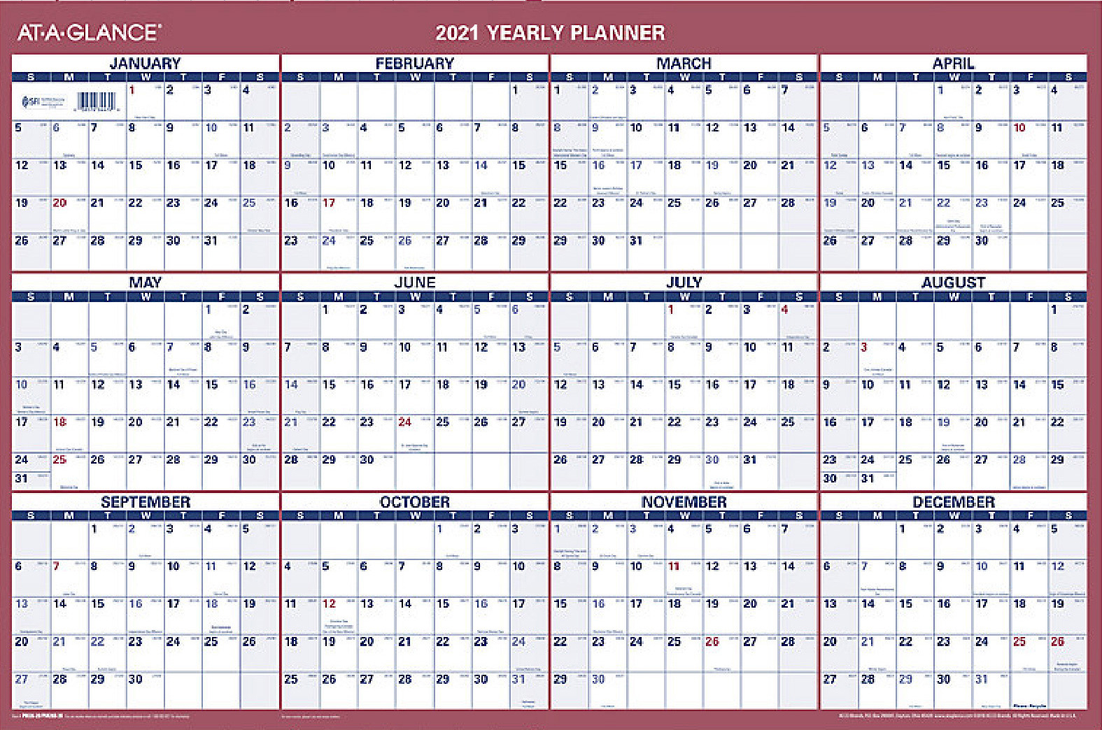 At A Glance 2021 Calendar 2021 Erasable Wall Calendar by AT A GLANCE 48