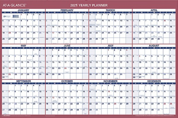 At a glance 2021 yearly planner large wall calendar