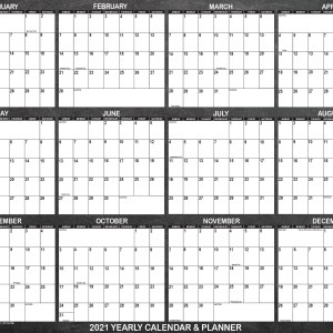 "2021 Wall Calendar, designed with chalkboard background , is 24"" x 36"". Large wall calendar complements rustic home or office workspace."