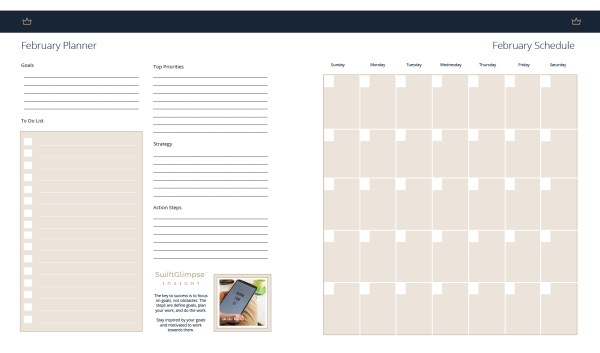 Monthly planning in goal planner