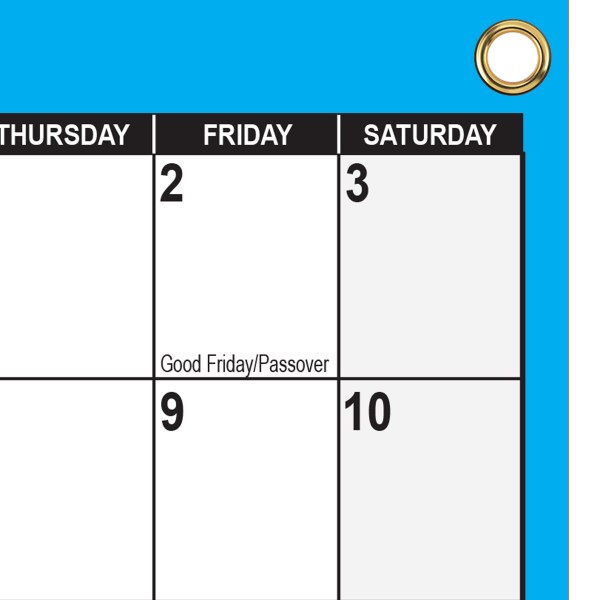 2022 Wall Calendar with grommets blue