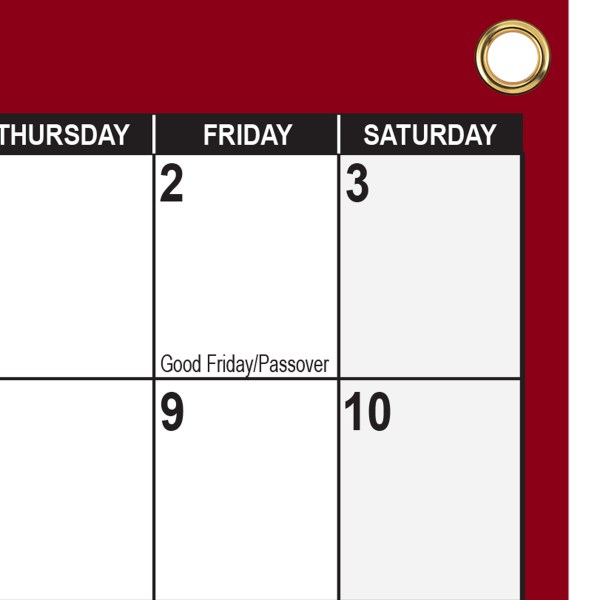 2021 2022 SG Academic Planning Calendar Horizontal 24x36 Maroon with grommets
