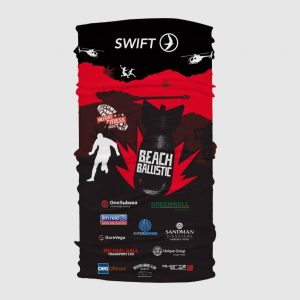 Custom printed Buff. Swift event supplies printed headwear. Protects face from sun, wind, insects and particles. Running custom wrag.