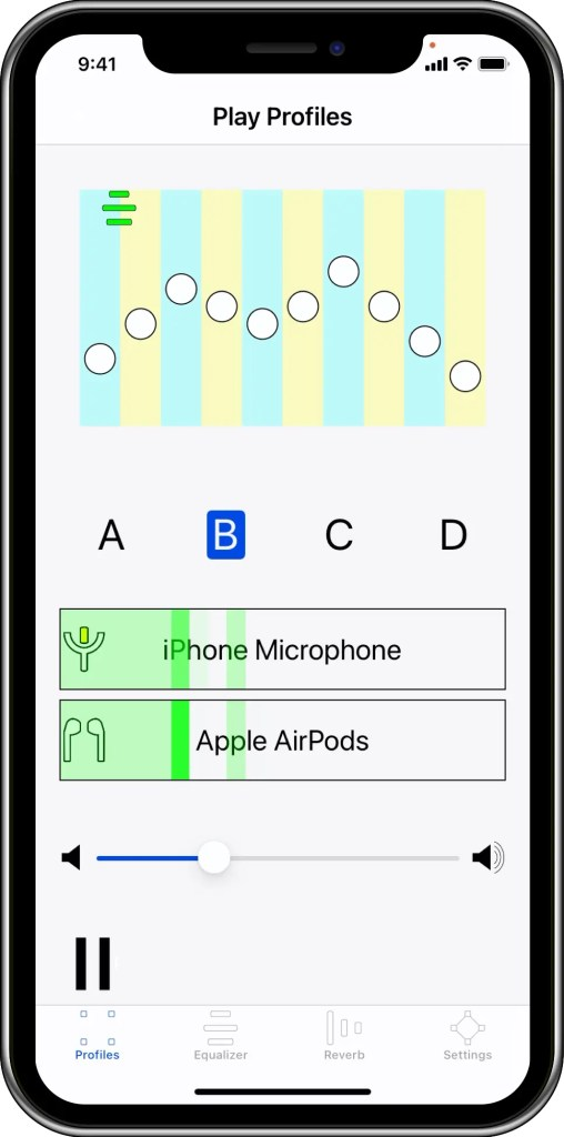 This image shows the use of AirPods for playing sounds in the Head Shadow app.  Sounds are captured on iPhone microphone that must be pointing to the sound source. This works well as a general hearing aid as well as a single-sided deafness aid.
