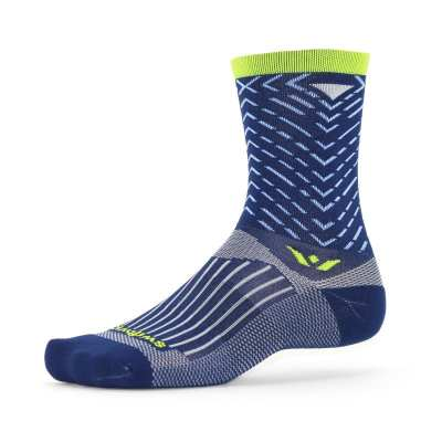 Swiftwick Vision Seven Tread Navy Lime Sock