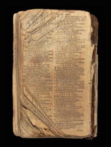 NAT TURNER'S BIBLE - This sacred book belonged to the leader of a brutal slave rebellion and was confiscated in 1831, when he was captured. Turner, a preacher who always had a Bible on him, and his band of slaves killed at least 55 white people in southern Virginia. The Bible appears to have been printed in 1782 in Scotland. (Credit: All Artifacts from the collection of the Smithsonian National Museum of African American History and Culture / Photo by Museum Staff; Gift of Maurice A. Person and Noah & Brooke Porter)