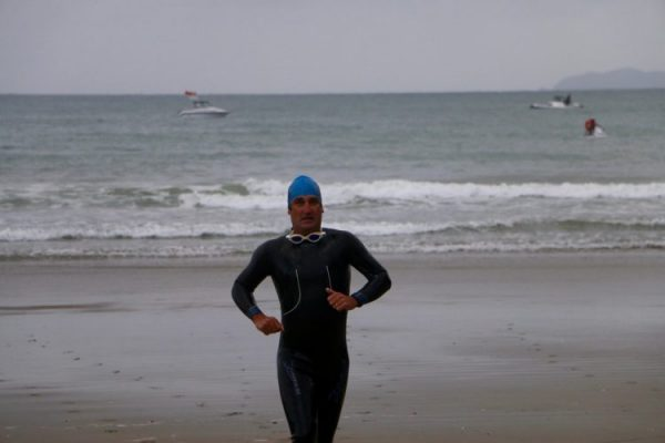 blue cap coming out of the water