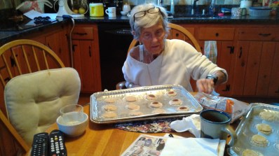 mom making potato chip cookies