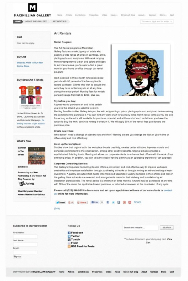 Maximillian Gallery - Art Rentals Page