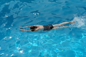 Swimmer Kicking face down in Position 11