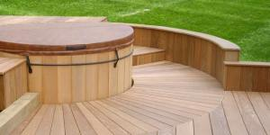 wood deck round spa cover