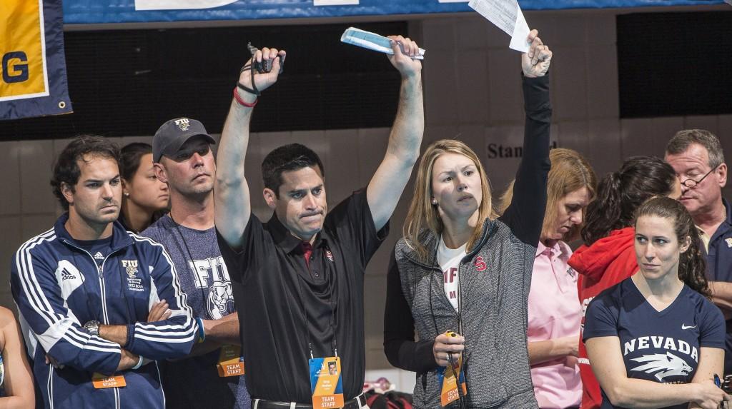 Greeg Meehan cheering his swimmers.