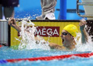 (140817) -- Nanjing,Aug 17,2014 (Xinhua) -- Mykhailo Romanchuk of Ukraine celebrates in the final of Men's 400m Freestyle of Nanjing 2014 Youth Olympic Games in Nanjing, capital of east China?s Jiangsu Province, on Aug. 17, 2014. (Xinhua/Fei Maohua) (txt)
