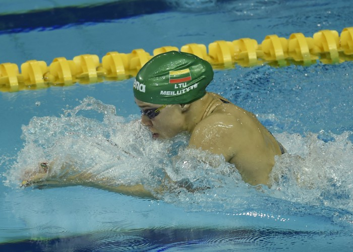 (140818) -- NANJING, Aug 18, 2014 (Xinhua) -- Ruta Meilutyte of Lithuania competes during the Women's 50m Breastsroke match at Nanjing 2014 Youth Olympic Games in Nanjing, capital of east China's Jiangsu Province, on Aug. 18, 2014.Ruta Meilutyte won the gold medal.(Xinhua/Han Yuqin)(hhx)