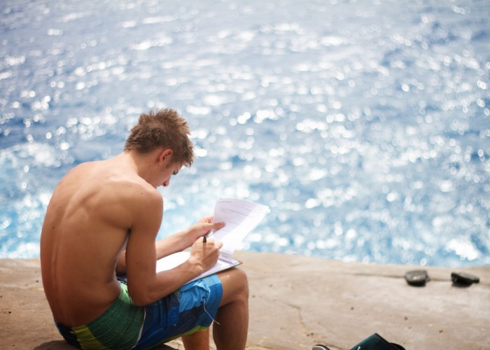Students Beach Studying