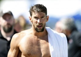 Jun 21, 2015; Santa Clara, CA, USA; Michael Phelps (USA) on the pool deck after swimming the Men's 200IM Prelim in the final heat during the morning session of day four at the George F. Haines International Swim Center in Santa Clara, Calif. Mandatory Credit: Bob Stanton-USA TODAY Sports