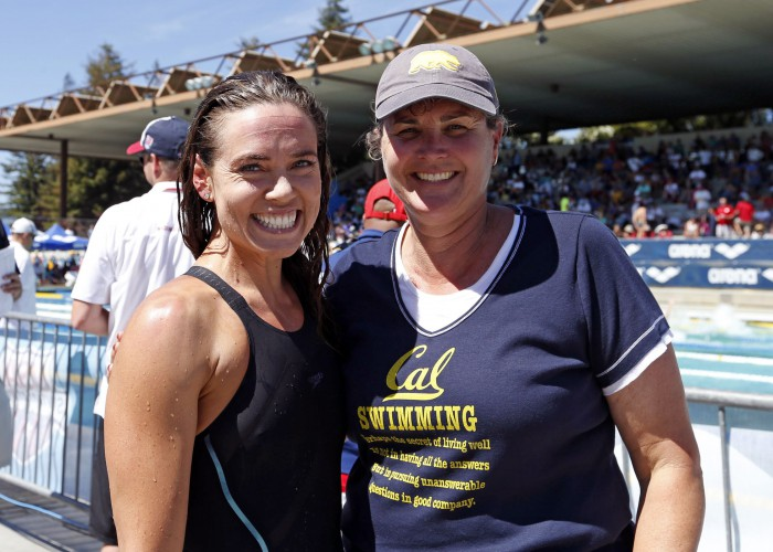 Jun 18, 2015; Santa Clara, CA, USA; Natalie Coughlin (USA) poses her coach Teri McKeever during day two of the Arena Pro Series at Santa Clara at the George F. Haines International Swim Center. Mandatory Credit: Bob Stanton-USA TODAY Sports
