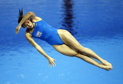 Jul 13, 2015; Toronto, Ontario, USA; Luisa Jimenez Aragunde of Puerto Rico competes in the women's 3m springboard final during the 2015 Pan Am Games at Pan Am Aquatics UTS Centre and Field House. Mandatory Credit: Rob Schumacher-USA TODAY Sports