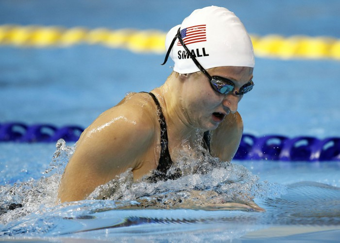 Jul 15, 2015; Toronto, Ontario, CAN; Meghan Small of the United States competes in the women's 200m breaststroke preliminary heat during the 2015 Pan Am Games at Pan Am Aquatics UTS Centre and Field House. Mandatory Credit: Rob Schumacher-USA TODAY Sports