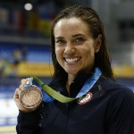 Jul 17, 2015; Toronto, Ontario, CAN; Natalie Coughlin of the United States poses with her bronze medal after the women's 50m freestyle final the 2015 Pan Am Games at Pan Am Aquatics UTS Centre and Field House. Mandatory Credit: Erich Schlegel-USA TODAY Sports