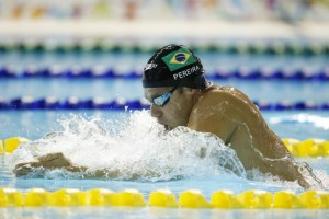 Jul 18, 2015; Toronto, Ontario, CAN; Thiago Pereira of Brazil competes in the men's swimming 200m individual medley during the 2015 Pan Am Games at Pan Am Aquatics UTS Centre and Field House. Mandatory Credit: Erich Schlegel-USA TODAY Sports