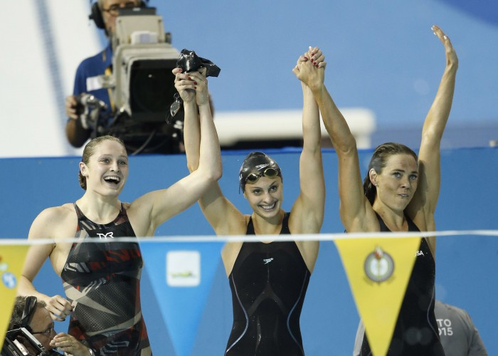 Jul 18, 2015; Toronto, Ontario, CAN; Kelsi Worrell , Katie Meili and Natalie Coughlin of the United States celebrate after winning the women's swimming 4x100m medley final during the 2015 Pan Am Games at Pan Am Aquatics UTS Centre and Field House. Mandatory Credit: Erich Schlegel-USA TODAY Sports