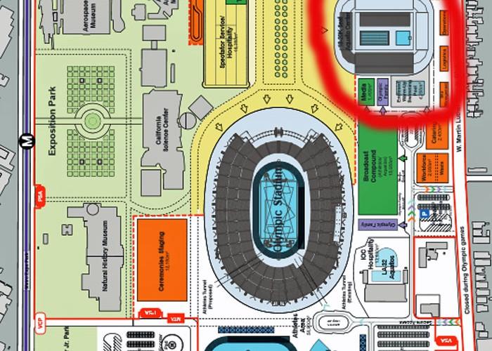 LA 2024 blueprint of Olympic stadium and Olympic pool