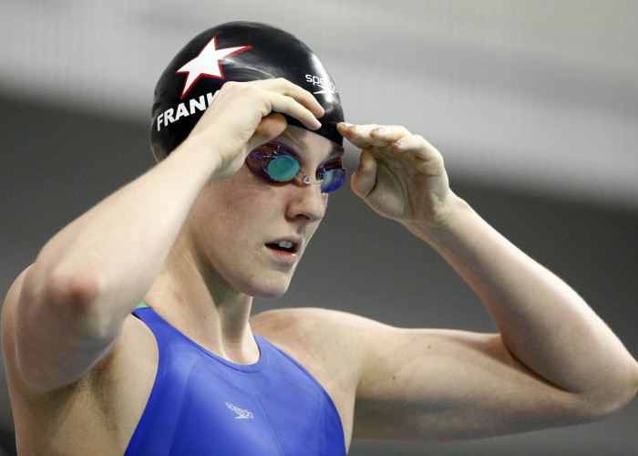 Jan 16, 2016; Austin, TX, USA; Missy Franklin before competing in the women's 200 meter free final during the 2016 Arena Pro Swim Series at Lee & Joe Jamail Texas Swimming Center. Mandatory Credit: Soobum Im-USA TODAY Sports