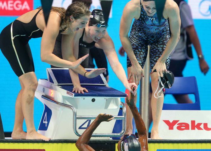 fina world championships, kathleen-baker-lilly-king-kelsi-worrell-simone-manuel-usa-champions-4x100-relay-2017-world-champs