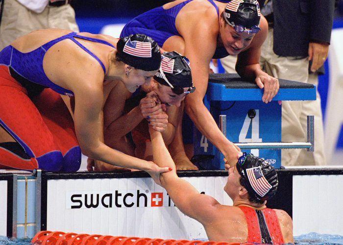 20 Sep 2000: Samantha Arsenault, Diana Munz, Lindsay Benko and Jenny Thompson of the USA celebrate their Gold Medal win in the Womens 4 x 200m Freestyle Relay Final at the Sydney International Aquatic Centre on Day Five of the Sydney 2000 Olympic Gamesin Sydney, Australia. Mandatory Credit: Nick Wilson /Allsport