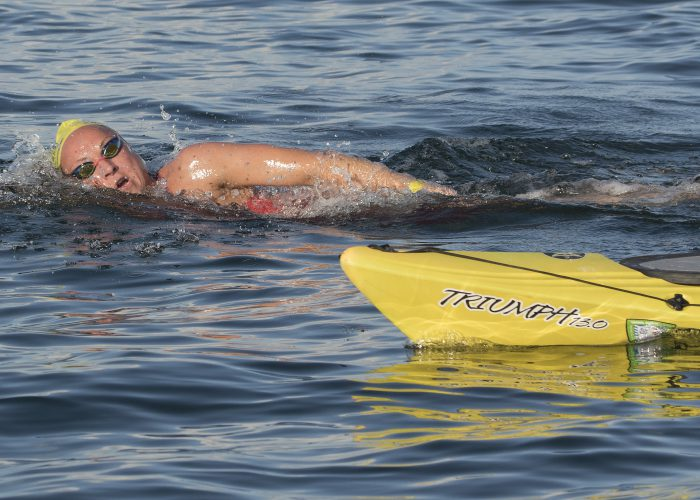 Chelsea Nauta swims during the 8-mile Swim for Alligator Lighthouse Saturday, Sept. 15, 2018, off Islamorada, Fla., in the Florida Keys. Nauta's time of 3 hours, 4 minutes and 21 seconds was the fastest among female competitors. The open-water swimming contest attracted more than 350 entrants. FOR EDITORIAL USE ONLY (Bob Care/Florida Keys News Bureau/HO)