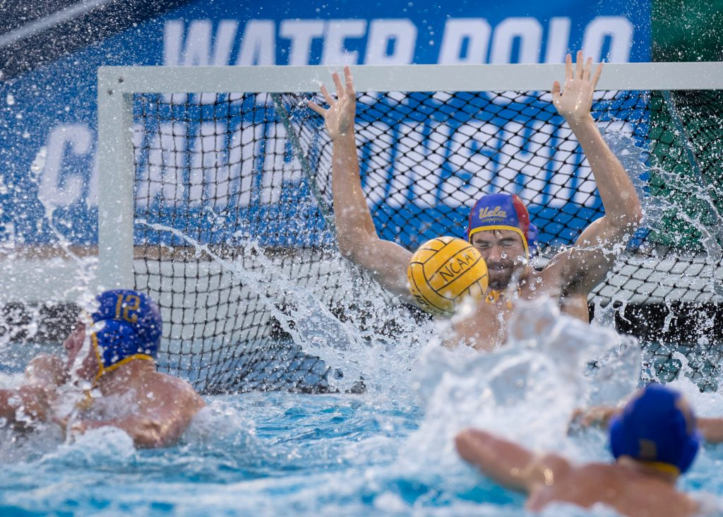 November 29, 2018; Avery Aquatic Center, Palo Alto, CA, USA; Collegiate Water Polo: NCAA Quarter Finals: UCLA vs George Washington University; Photo credit: Catharyn Hayne