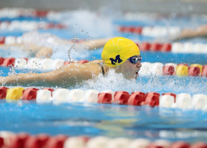 The University of Michigan women's swimming and diving team compete on the third day of the 2019 Big Ten Women's Swimming and Diving Championships. Bloomington, IN, Feb. 22, 2019