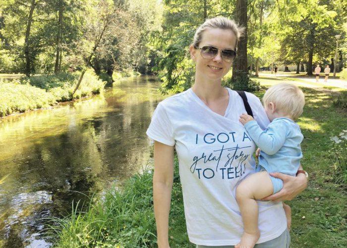 Britta Steffen with son