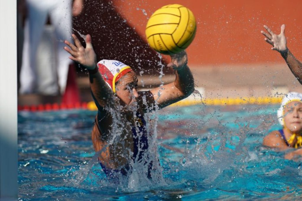 May 11, 2019; Avery Aquatic Center, Palo Alto, CA, USA; Collegiate Women's Water Polo: NCAA Semi Finals: UCLA Bruins vs Stanford Cardinals; UCLA Goalkeeper Carlee Kapana with a save Photo credit: Catharyn Hayne